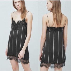 MANGO Lace Trim Slip Dress